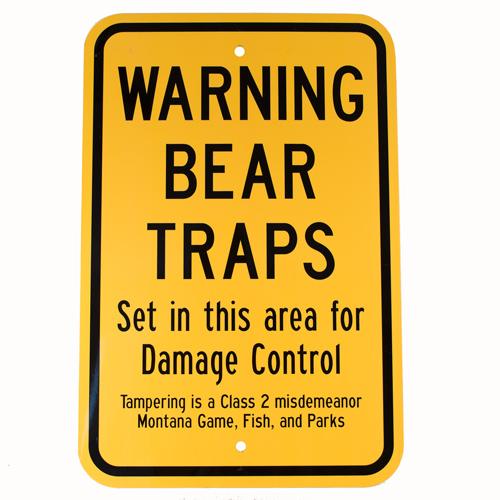 Bear Traps Warning Sign Wildlife Control Supplies