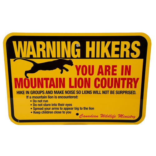 Mountain Lion Warning Sign Wildlife Control Supplies